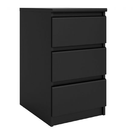Bedside - 3 Drawers in Black Matt